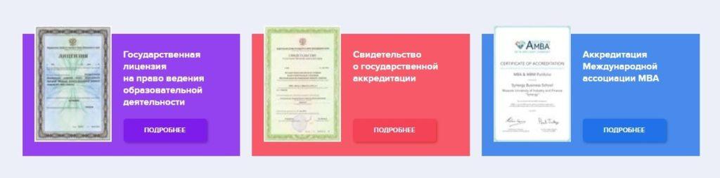 Лицензии Университета Синергия