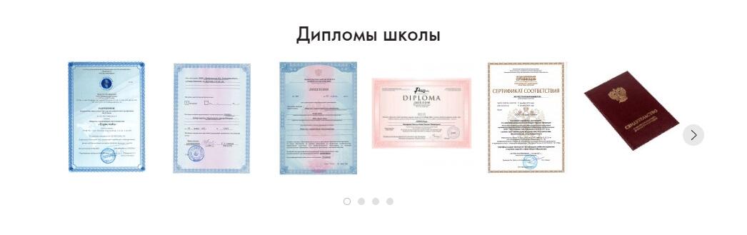 Сертификаты и дипломы которые выдаёт школа